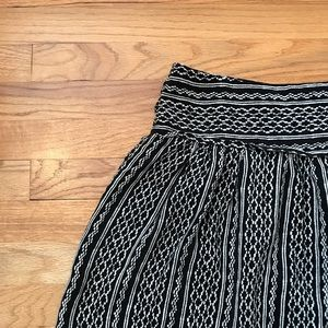Madewell Black and White Pattern Skirt